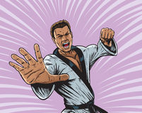 Karate Punch Man. Drawing of a furious dude delivering a punch Stock Photography