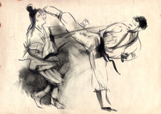 Karate - ręka rysująca ilustracja (kaligraficzna) Obraz Stock
