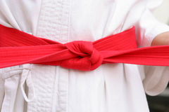 Karate red belt Royalty Free Stock Images