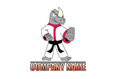 Karate rhino logo. A logo with an drawed and colored tough and fighting ready antropomorphic rhino wearing a Japanese kimono and standing in a karate stance. The Stock Photography