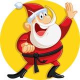 Karate Santa Claus Ready for Christmas Vector Cartoon. Funny Santa smashing Xmas prices in sales Stock Image