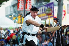 Karate Sensei que realiza karate Fotos de archivo