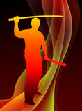 Karate Sensei with Sword on Abstract Blaze Wave Background Royalty Free Stock Image