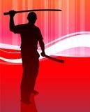 Karate Sensei with Sword on Abstract Stock Image