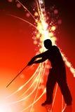 Karate Sensei with Sword on Abstract Light Background Stock Photos