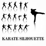 Karate silhouette move set Royalty Free Stock Images
