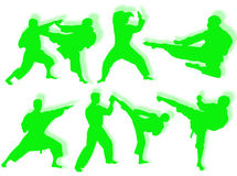 Karate silhouettes Royalty Free Stock Photography