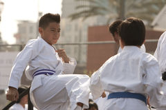 Karate Sparring Royalty Free Stock Photography