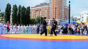 Karate sportutställning 2014 - ungesportfestival, Kiev, Ukraina, arkivfilmer
