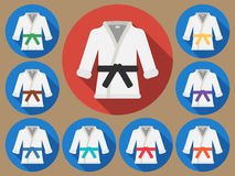 Karate suit flat. Karate suit icon with long shadow. Vector illustration of a flat Royalty Free Stock Images