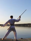Karate at Sunrise. Teen boy practicing karate form at the lake Stock Images