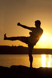 Karate on sunset Royalty Free Stock Photography