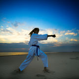 Karate on sunset beach Stock Photography