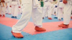 Karate szkolenie - grupa karateka nastolatkowie w czerwień butach i białym kimonie Obraz Royalty Free