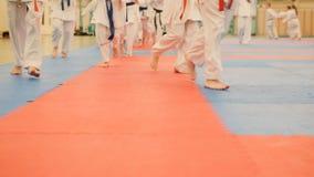 Karate szkolenie - młodzi sportowowie w kimonie biegają na tatami w gym Zdjęcia Stock