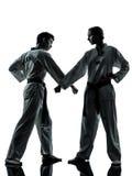 Karate taekwondo martial arts man woman couple silhouette Royalty Free Stock Images