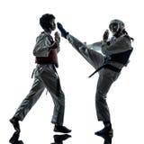 Karate taekwondo martial arts man woman silhouette Royalty Free Stock Image