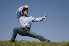 Karate - training of businessman Stock Photography