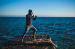 Karate training on the shores Royalty Free Stock Photos