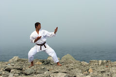 Karate trains on the shores of the sea Stock Images
