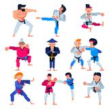 Karate vector martial karate-do character training attack illustration set of man or woman and elderly people in. Sportswear practicing in judo or taekwondo Stock Photos
