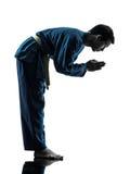 Karate vietvodao martial arts man silhouette. One asian young man exercising martial arts karate vietvodao in silhouette studio  on white background Royalty Free Stock Photo