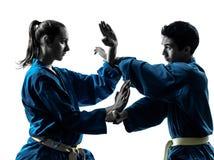 Karate vietvodao martial arts man woman couple silhouette. One  men women couple exercising karate vietvodao martial arts in silhouette studio isolated on white Stock Photos