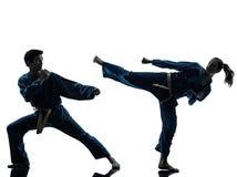 Karate vietvodao martial arts man woman couple silhouette. One  men women couple exercising karate vietvodao martial arts in silhouette studio isolated on white Stock Photo