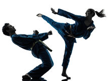 Karate vietvodao martial arts man woman couple silhouette. One  men women couple exercising karate vietvodao martial arts in silhouette studio isolated on white Royalty Free Stock Image