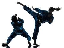 Karate vietvodao martial arts man woman couple silhouette. One  men women couple exercising karate vietvodao martial arts in silhouette studio isolated on white Royalty Free Stock Photos