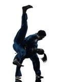 Karate vietvodao martial arts man woman silhouette. One  men women couple exercising karate vietvodao martial arts in silhouette studio  on white background Royalty Free Stock Photos