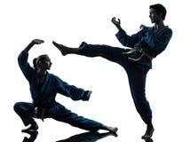 Karate vietvodao martial arts man woman silhouette. One  men women couple exercising karate vietvodao martial arts in silhouette studio  on white background Stock Photography
