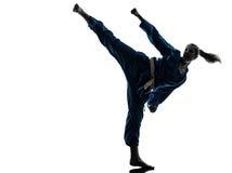Karate vietvodao martial arts woman silhouette. One caucasian woman exercising karate vietvodao martial arts in silhouette studio  on white background Stock Images