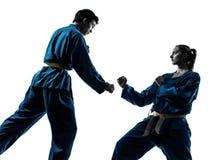 Karate vietvodao sztuk samoobrony mężczyzna kobiety pary sylwetka Zdjęcie Royalty Free