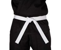 Karate White Belt Tied Around Torso Black Uniform Stock Photos