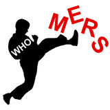 Karate wins Mers Corona Virus sign. Royalty Free Stock Photography