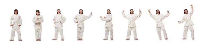 Karate wojownik na bielu fotografia royalty free