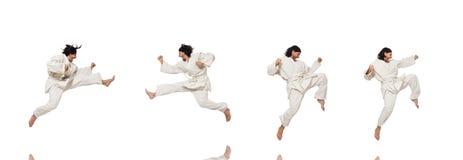 Karate wojownik na bielu obraz stock