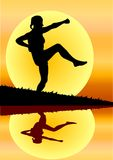 Karate woman. Woman on the river in karate pose vector illustration
