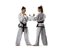 Karate woman in action isolated in white Stock Photos
