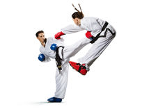 Karate woman in action isolated in white Royalty Free Stock Image