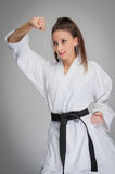 Karate Woman Black Belt Stock Images