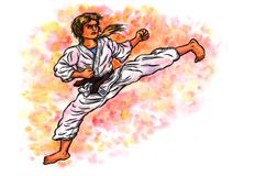 Karate woman kick The Power of Karate-Do, 2017. An abstract colorful watercolor cartoon illustration of a young woman, wearing a karate suit and doing a kick Stock Photos