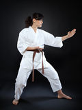 Karate woman in pose Royalty Free Stock Image