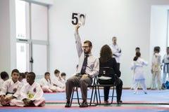 Karateereignis, feierliche Meisterschaft der Vereinigung von Karate tun Porto Stockfoto