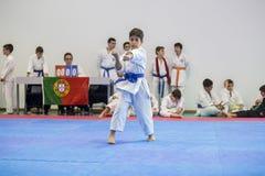 Karateereignis, feierliche Meisterschaft der Vereinigung von Karate tun Porto Stockbild