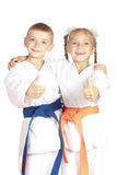 In karategi athletes show thumb super Royalty Free Stock Photography