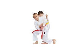 In karategi athletes are training grip for throw Stock Photo