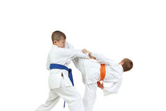 In karategi two athletes are doing paired exercises karate Stock Image