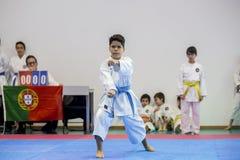 Karatehändelsen, den celebratory mästerskapet av anslutningen av karate gör Porto Arkivbilder